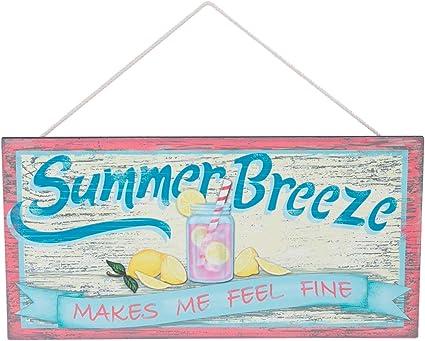 Beachcombers Holzschild Summer Breeze Makes Me Feel Fine Pink Lemonade 35 6 Cm Amazon De