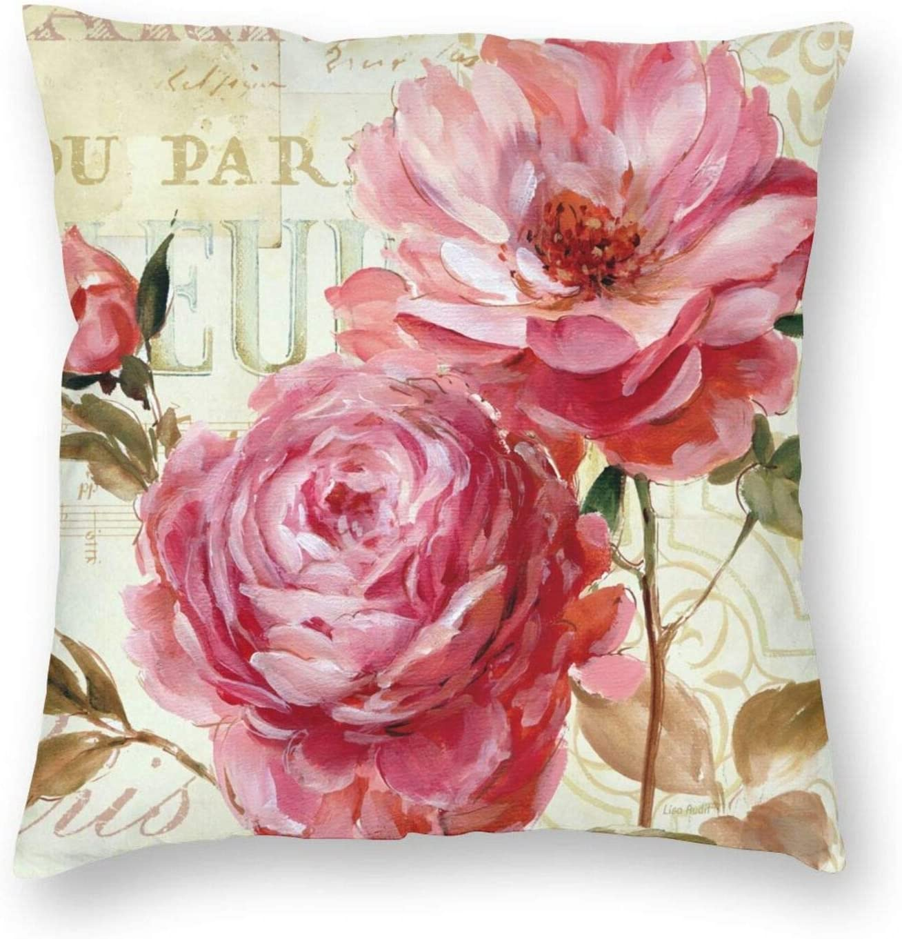 Retro Floral Vintage Farmhouse Flower Leaf Pink Garden Peony Throw Pillow Cover Home Decor Modern Square Decorative Pillowcase 18x18 for Home Sofa Couch Bed Living Room Car Housewarming Gifts