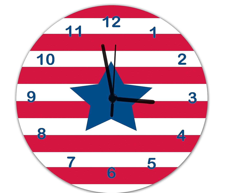 Boys clockkids wall clockstars stripes clockboys room clock boys clockkids wall clockstars stripes clockboys room clockboys wall clock non ticking clock amazon kitchen home amipublicfo Images