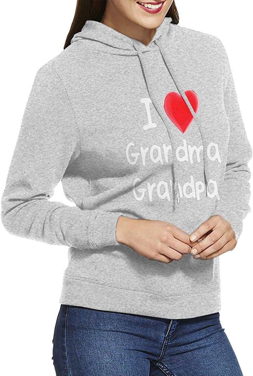 Women Pullover Long Sleeved Hooded Without Pockets Sweatshirt JF-X I Heart Grandma /& Grandpa