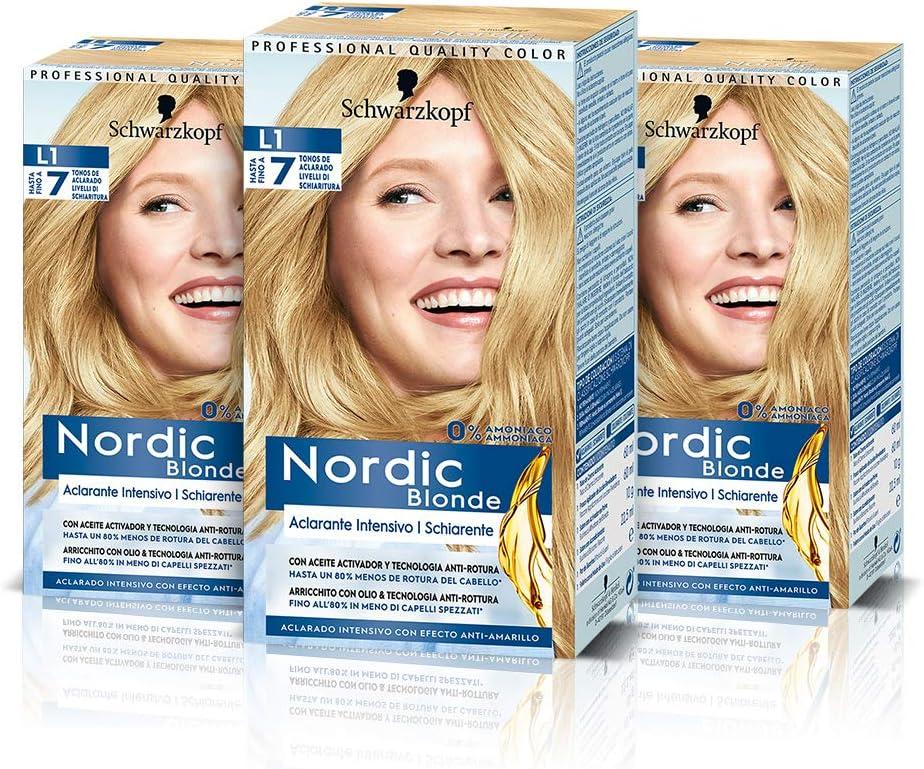 Schwarzkopf Nordic Blonde Nordic Blonde L1 Aclarante Intensivo (Pack de 3) – Coloración permanente sin amoníaco – Aclara hasta 7 tonos - Con aceite ...