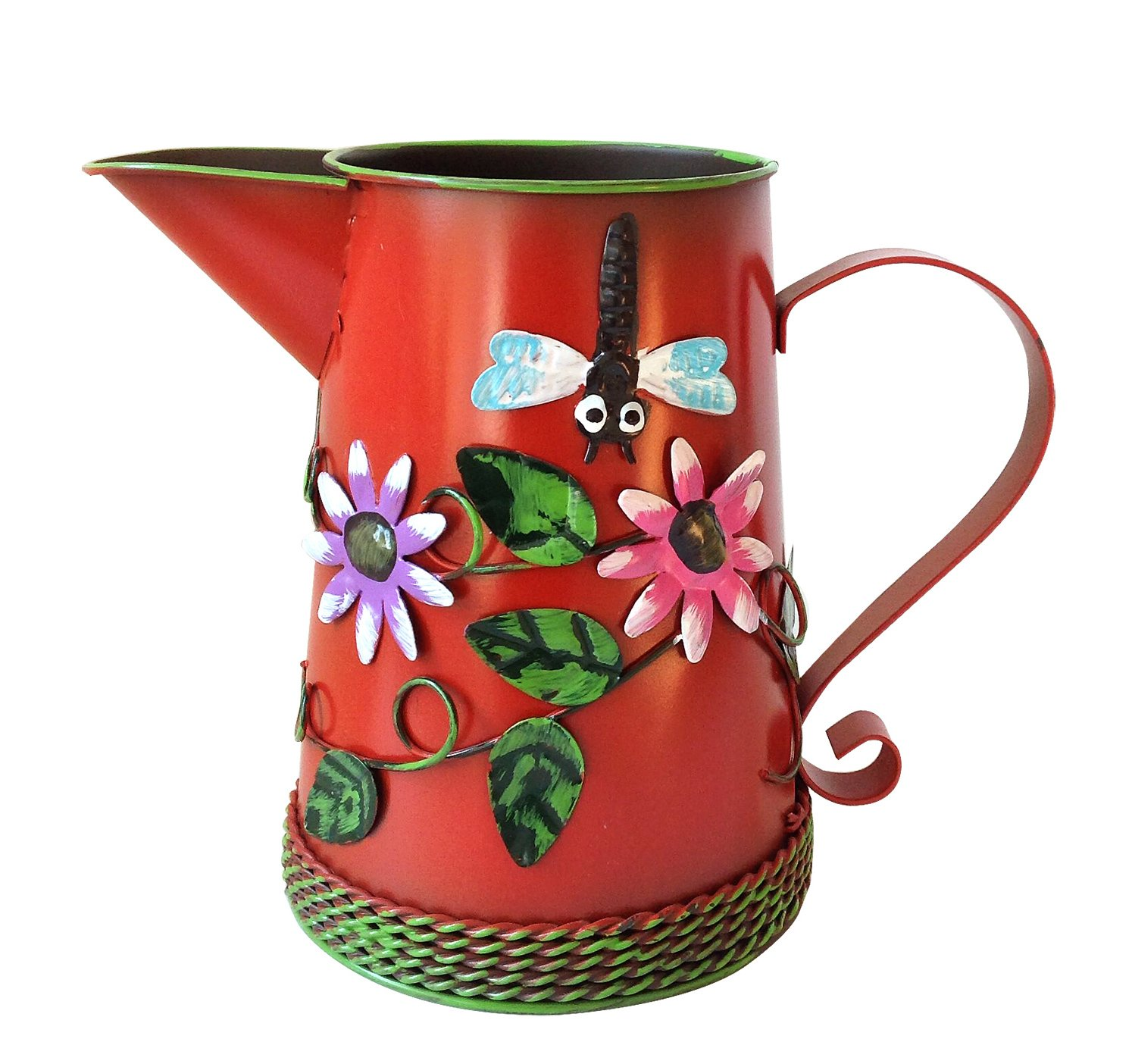 Goodman and Wife Country Chic Metal Watering Can with Raised Flowers Ladybug Butterfly Dragonfly Ladybug. Dark Red