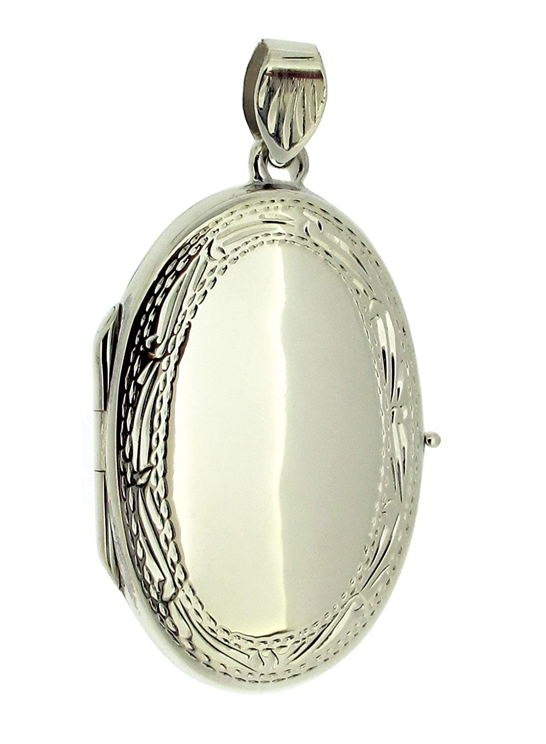 0.925 Sterling Silver Large Oval Locket Pendant In Presentation Gift Box Christopher James Of London SIL-LOCK-LGEOVAL-NOCHAIN