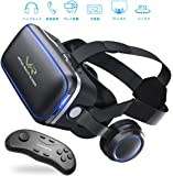 FlashFish VR ゴーグル メガネ 3D 動画 ゲーム 映画 超3D映像効果 レンズ距離調整可能 4.7-6.0インチのiPhone Samsungなどに対応 ハンドル付き ブラック