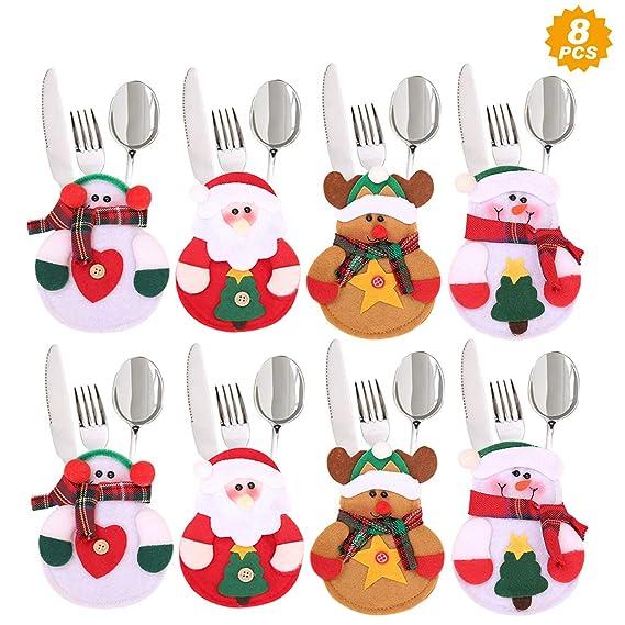 Aitsite 8 Piezas Navidad Cocina Cubiertos Cuchillo Tenedor Cuchara Papá Noel Muñeco Nieve Alce Cuchillo Porta Bolsas Decoraciones para Mesa Bolsita ...