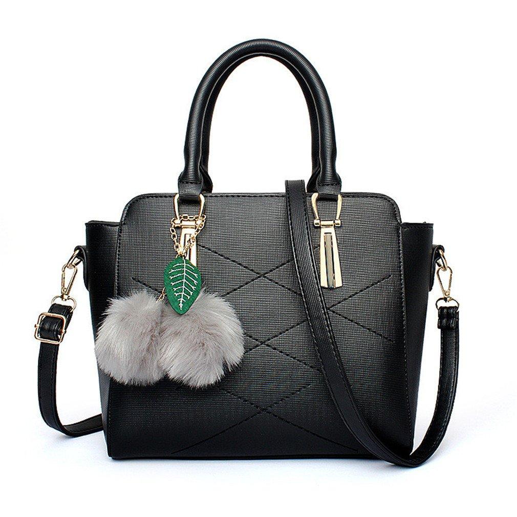 Women Messenger Bag Fashion PU Leather Handbag Female Crossbody Bags Fox Tassel Casual Tote With Fur Ball Black