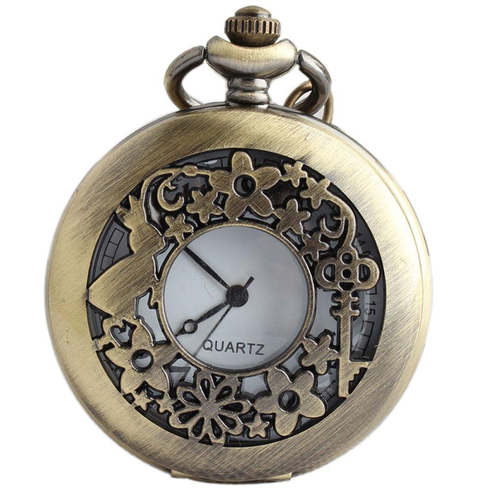 VIGOROSO Watches Alice Rabbit Flower Vintage Retro Steampunk Necklace Pocket Watch in Black Box