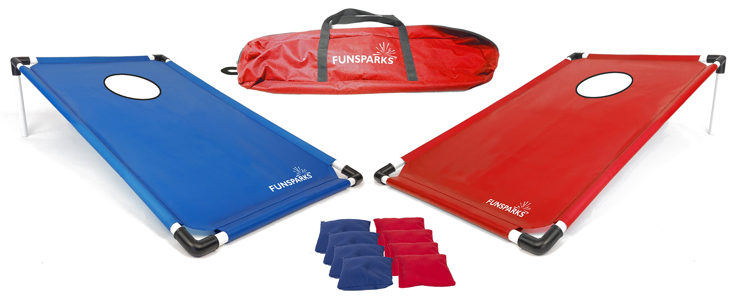 Funsparks Portable Cornhole Game Set with 8 Bean Bags and a nice Travel Bag by Funsparks