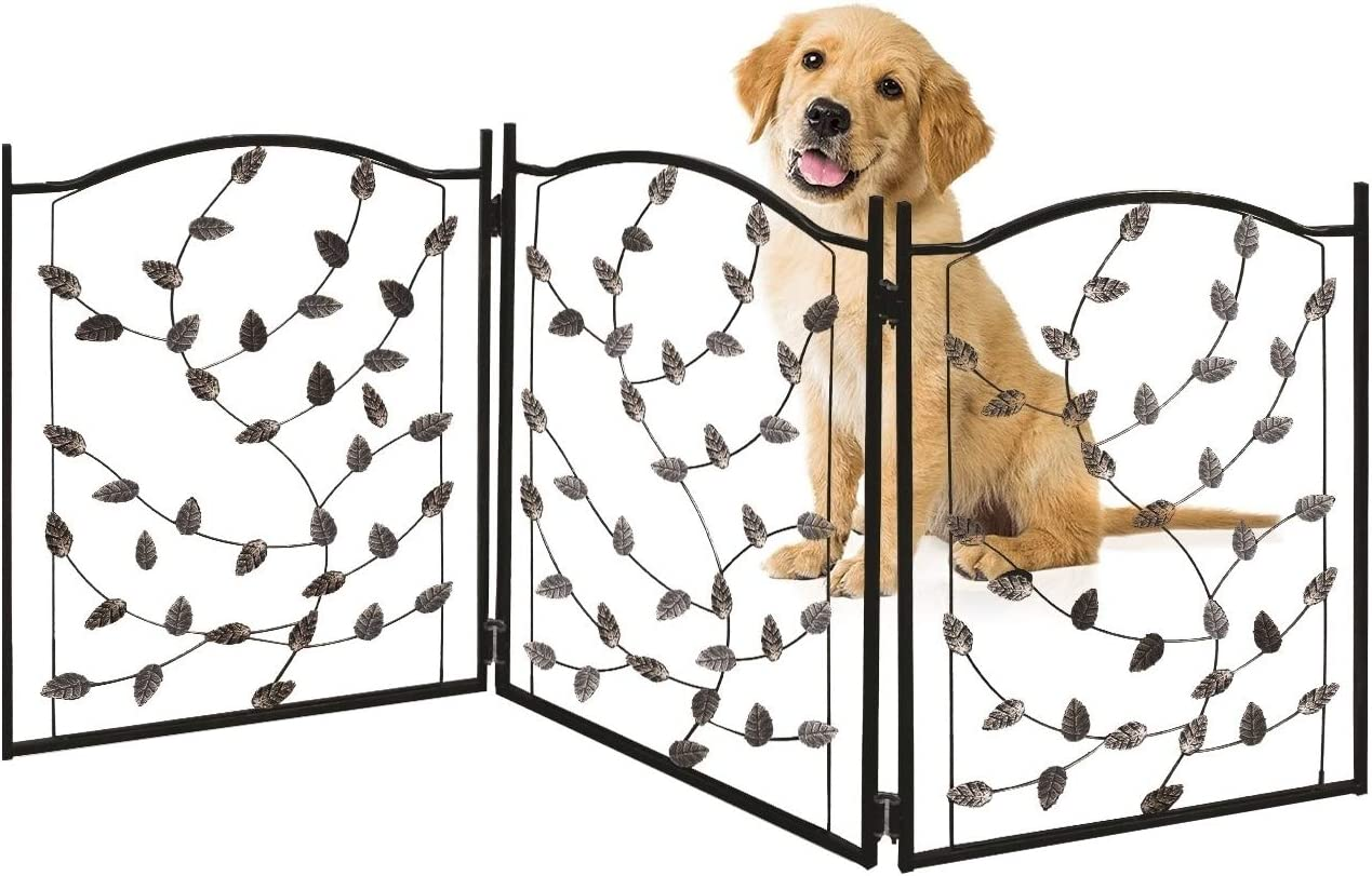 Bundaloo Freestanding Metal Folding Pet Gate Large Portable Panels for Dog Cat Security Foldable Enclosure Gates for Puppies Indoor Outdoor Safety for Pets