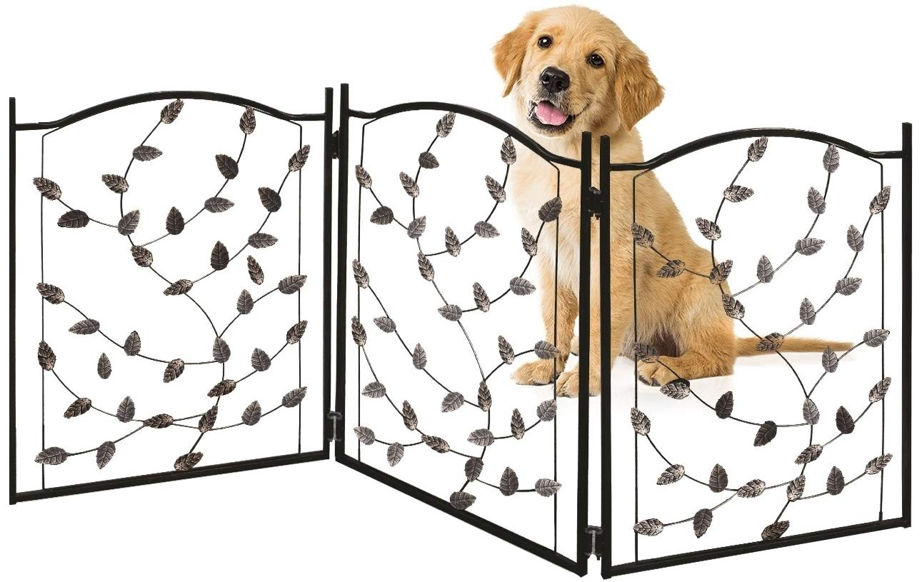 Bundaloo Freestanding Metal Folding Pet Gate | Large Portable Panels for Dog & Cat Security | Foldable Enclosure Gates for Puppies | Indoor & Outdoor Safety for Pets (Black Rustic, Metallic Leaf)