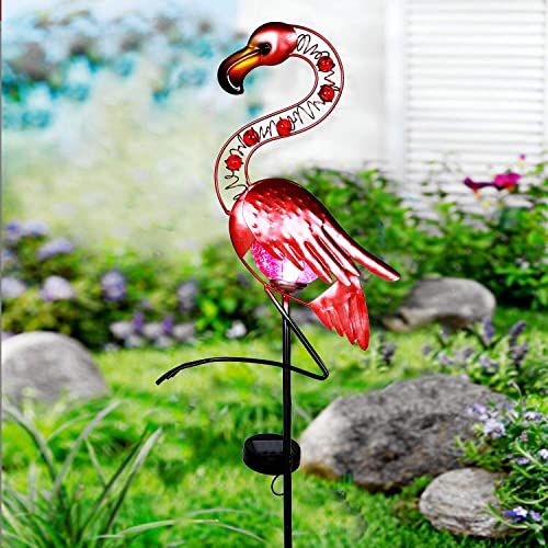Garden Lights Solar Powered,Flamingo Solar Lights Outdoor Pathway,Waterproof LED Decorative Metal Stake Lights for Garden, Lawn,Patio or Courtyard Pink