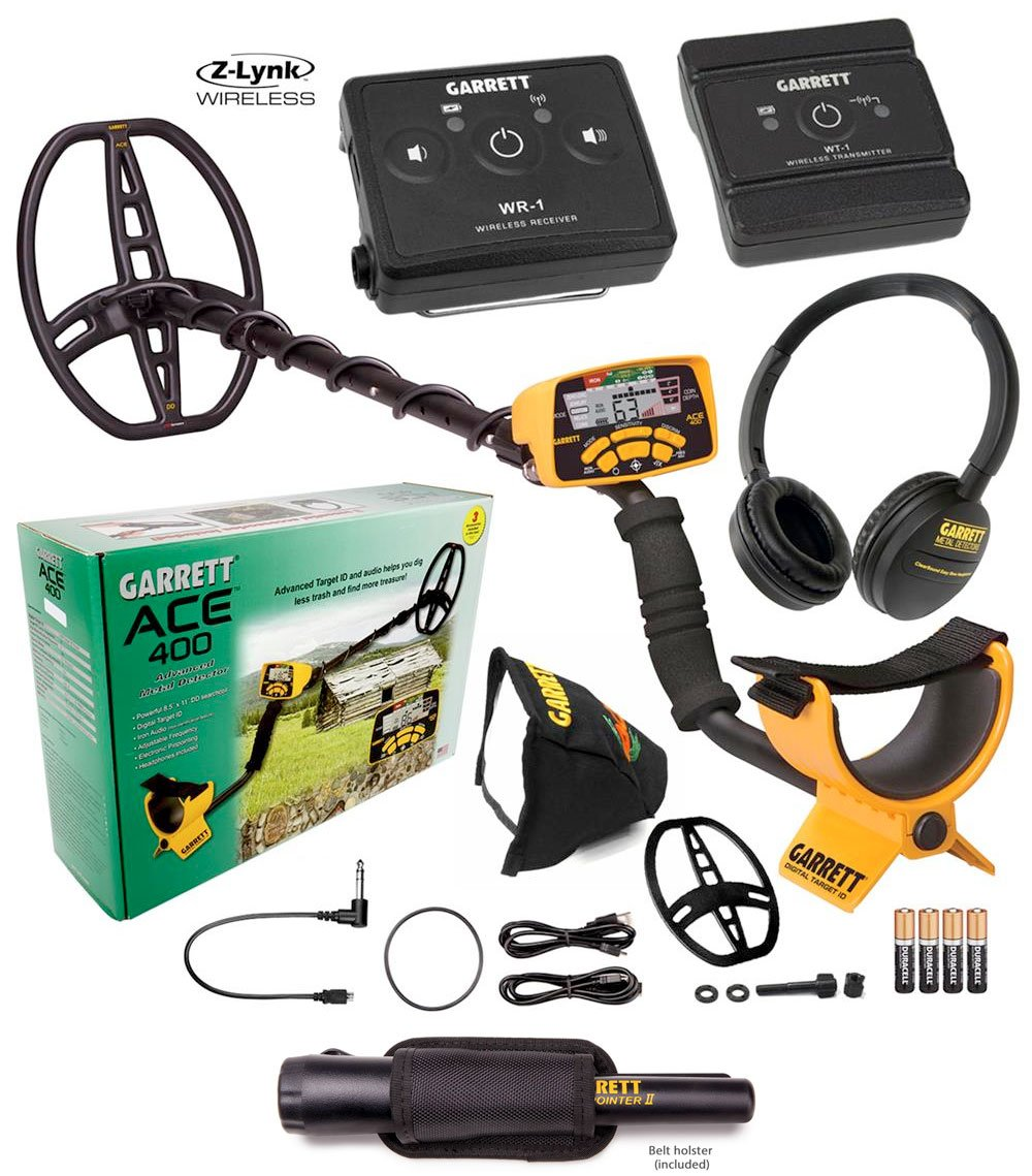 Amazon.com : Garrett Ace 400 Metal Detector Z-Lynk Package Special with Garrett Pro-Pointer II : Garden & Outdoor