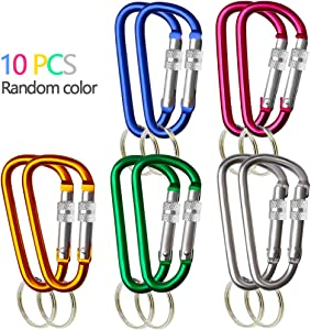 """Aluminum Carabiner Keychain 10 Pack D Shape 3"""" Buckle Camping Snap Hook Keychain Carabiner Clip D-Shaped Carabiner Aluminum Keychain Clip Hook for Home Camping Fishing Hiking Traveling Random Color"""