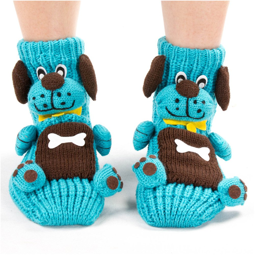 Girl's Cute Princess Set of 2 Animals Knit Christmas Stockings (Sky Blue)