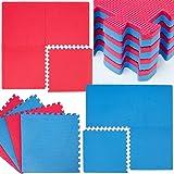 Tapis de Sol 4 Tapis Puzzles plus 8 Cadres Durable Mousse EVA Idéal pour pratiquer la Gymnastique Yoga Judo etc. Epaisseur 20 mm Pièces Détachables Couleur Rouge Bleu