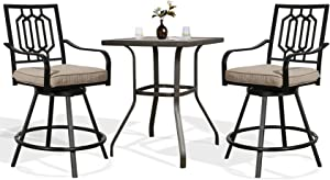Ulax Furniture Outdoor Bar Height Bistro Set 3-Piece Patio Furniture Set, Two Swivel Bar Stools and Bar Table with Imitation of Wooden Surface