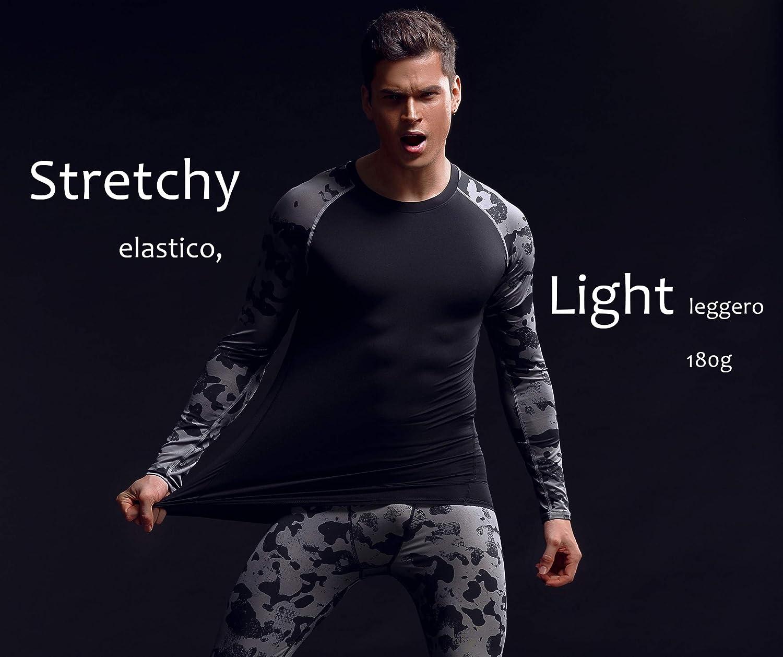 Bwiv Camiseta T/érmica Interior Hombre Camiseta Deportivo Compresi/ón de Camuflaje Secado R/ápido Gimnasio Correr Escalar Balonc/ésto