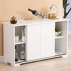 Mecor Cupboard Buffet Storage Cabinet Sideboard 2 Sliding Doors 1 Shelf Kitchen Dining Room