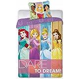 Parure de lit Princesse Raiponce Ariel Tiana Disney - Housse de couette lit 1 personne coton