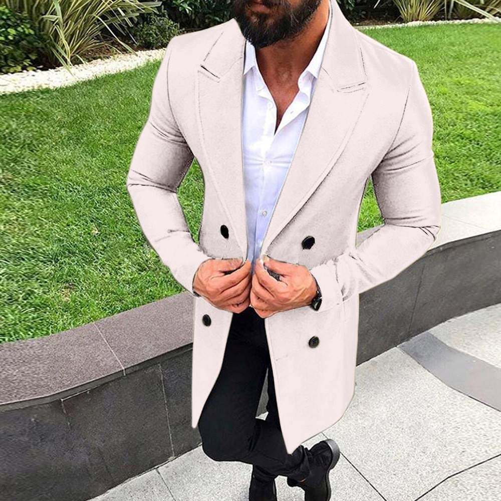 TAGGMY Jackets for Men Winter and Autumn Warm Black Big and Tall Long Sleeves Fashion New Outwear Button Smart Overcoat 3XL