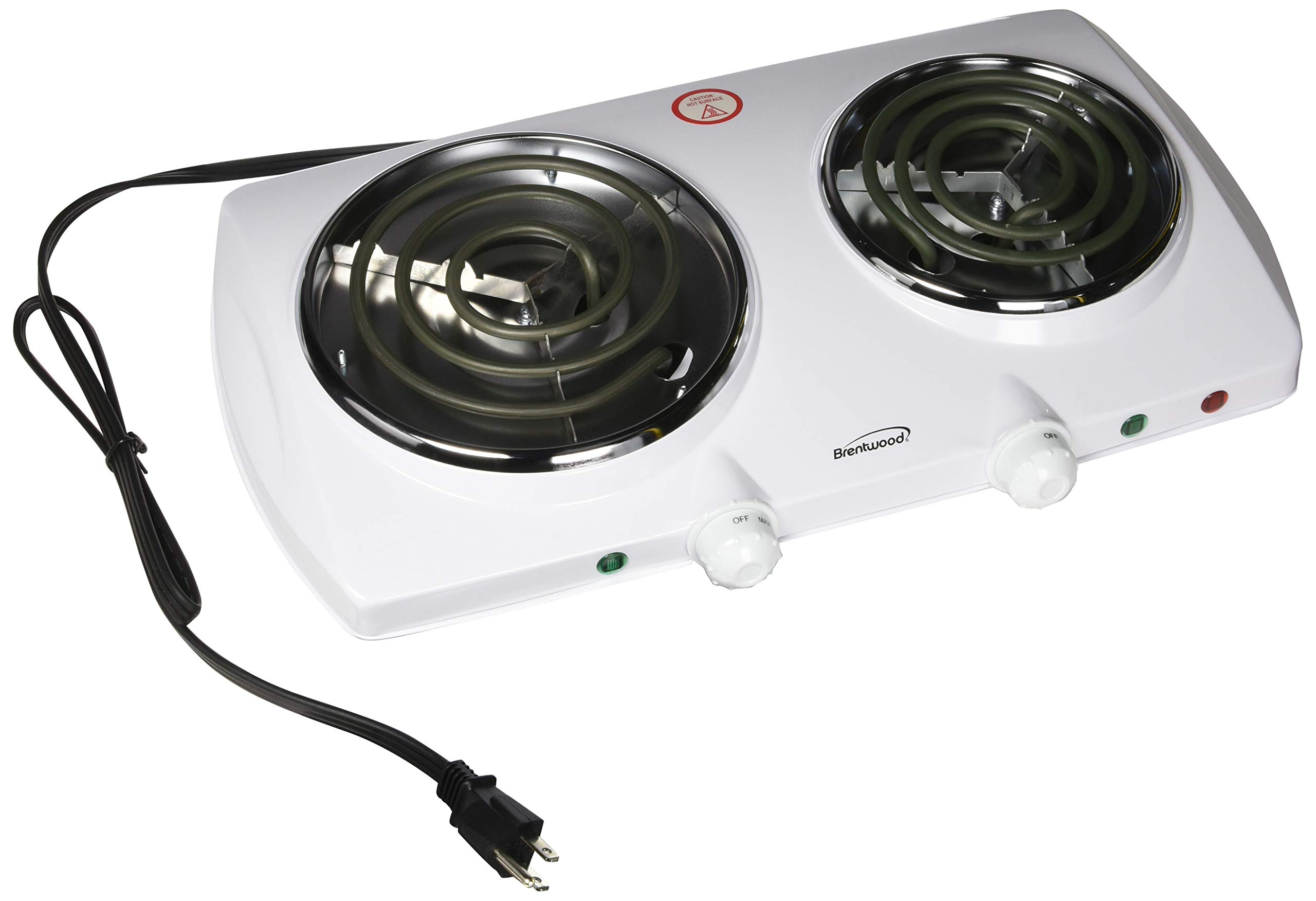 Brentwood Electric Double Burner, White