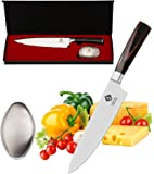 IDEELAND Professional 8 Inch Chef Knife with Odor Remover – High Carbon Stainless Steel Kitchen Knife - Handcrafted Handle - Japanese Pro Chefs Kitchen Knives to Slice, Dice, Chop Vegetable & Meat