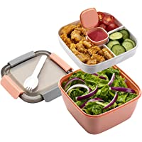 TIM Salad Lunch Container To Go, 52-oz Salad Bowls with 3 Compartments, Salad Dressings Container for Salad Toppings…