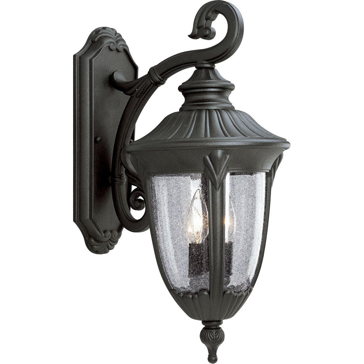 Progress Lighting P5822-31 Cast Aluminum Wall Lantern with Clear Seeded Glass, Textured Black by Progress Lighting B0013CCNZ4
