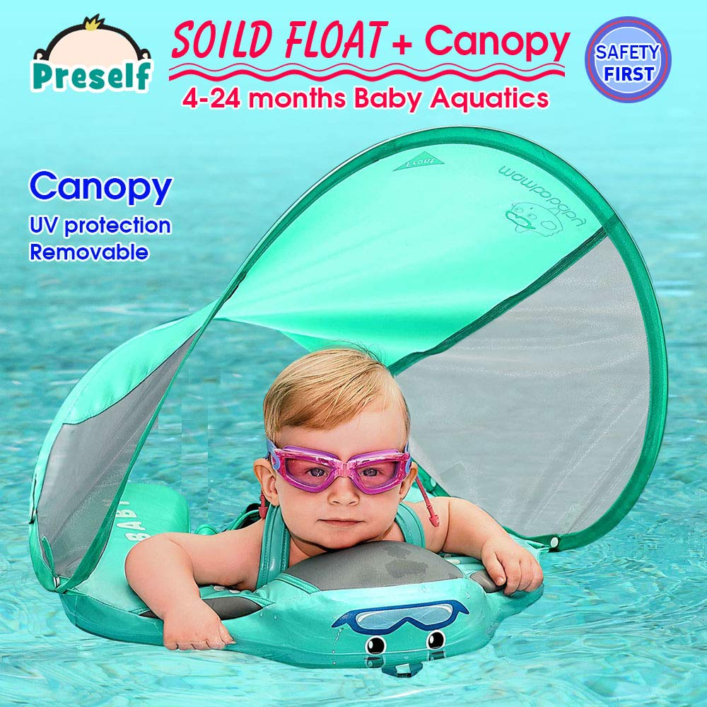 PRESELF Baby Solid Float with Canopy Safety Aquatics Floating Ring Fit Infant Toddler Swimming Pool Swim School Training (Green) by PRESELF (Image #3)
