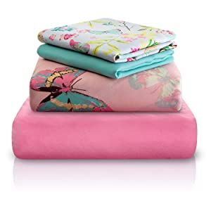 "Chital Full Bed Sheets for Girls | 4 Pc Colorful Kids Bedding Set | Pink Decorative Butterfly Print | Durable Super-Soft, Double-Brushed Microfiber | 1 Flat & 1 Fitted Sheet, 2 Pillow Cases | 15"" Deep"