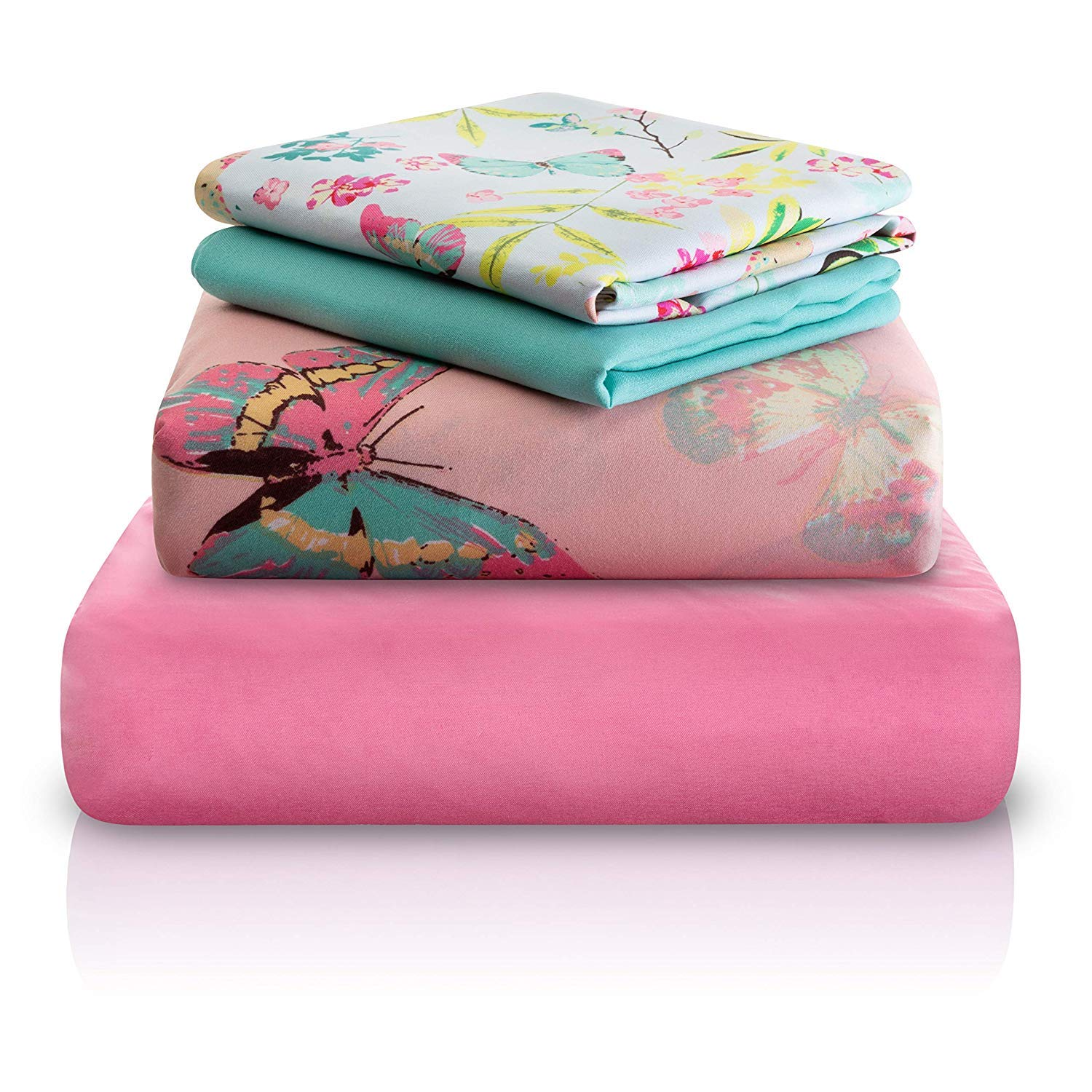 Chital Full Bed Sheets for Girls | 4 Pc Colorful Kids Bedding Set | Pink Decorative Butterfly Print | Durable Super-Soft, Double-Brushed Microfiber | 1 Flat & 1 Fitted Sheet, 2 Pillow Cases | 15'' Deep