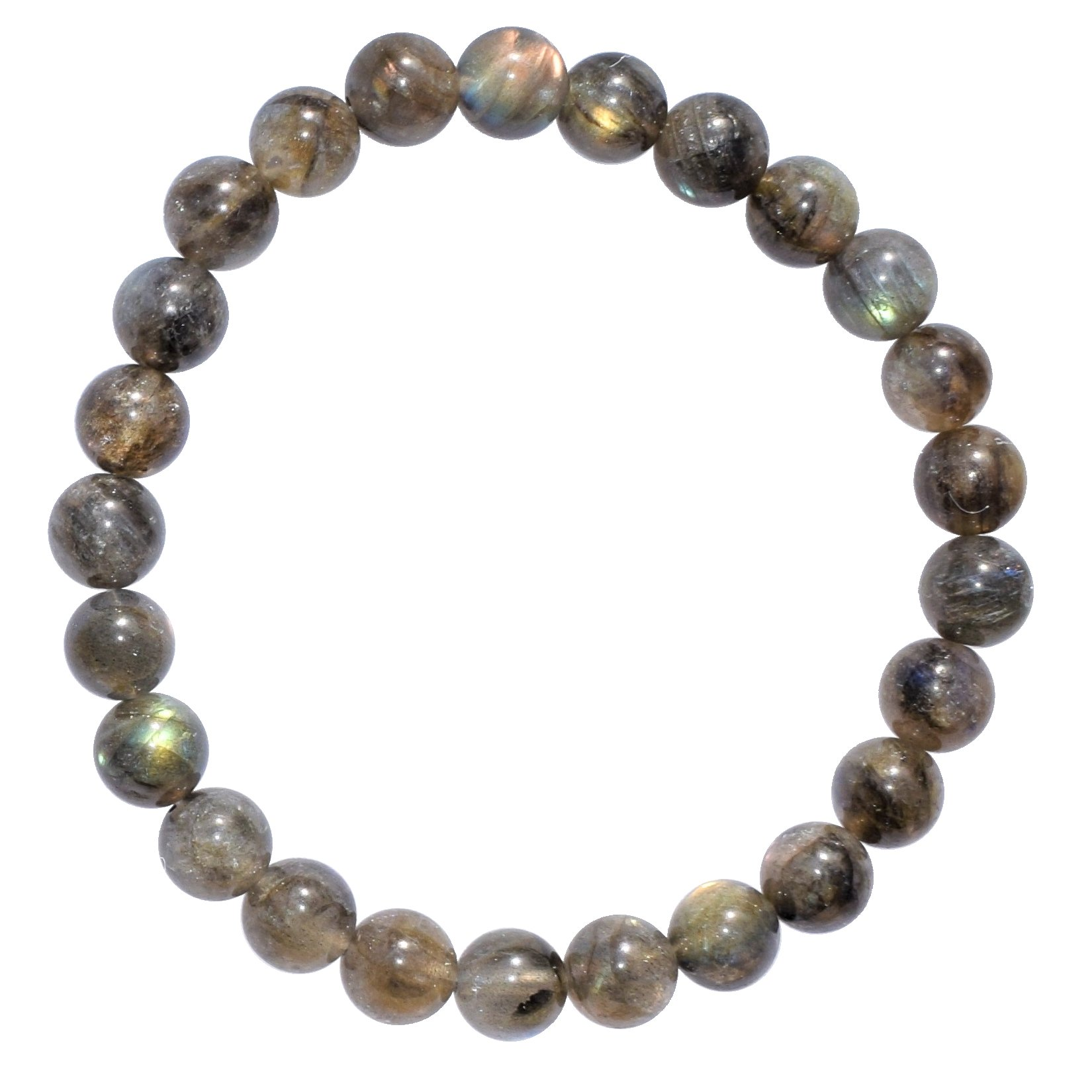Zenergy Gems Selenite Charged Natural Labradorite Crystal Bracelets (Healing Energy/Transformation/Clarity) (8mm Round) by Zenergy Gems