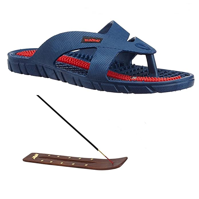 Super India Store Unisex Acupressure Slippers Sandals For Pain Relief & Total Health Care + Incense Stick Holder Men's Flip-Flops & Slippers at amazon