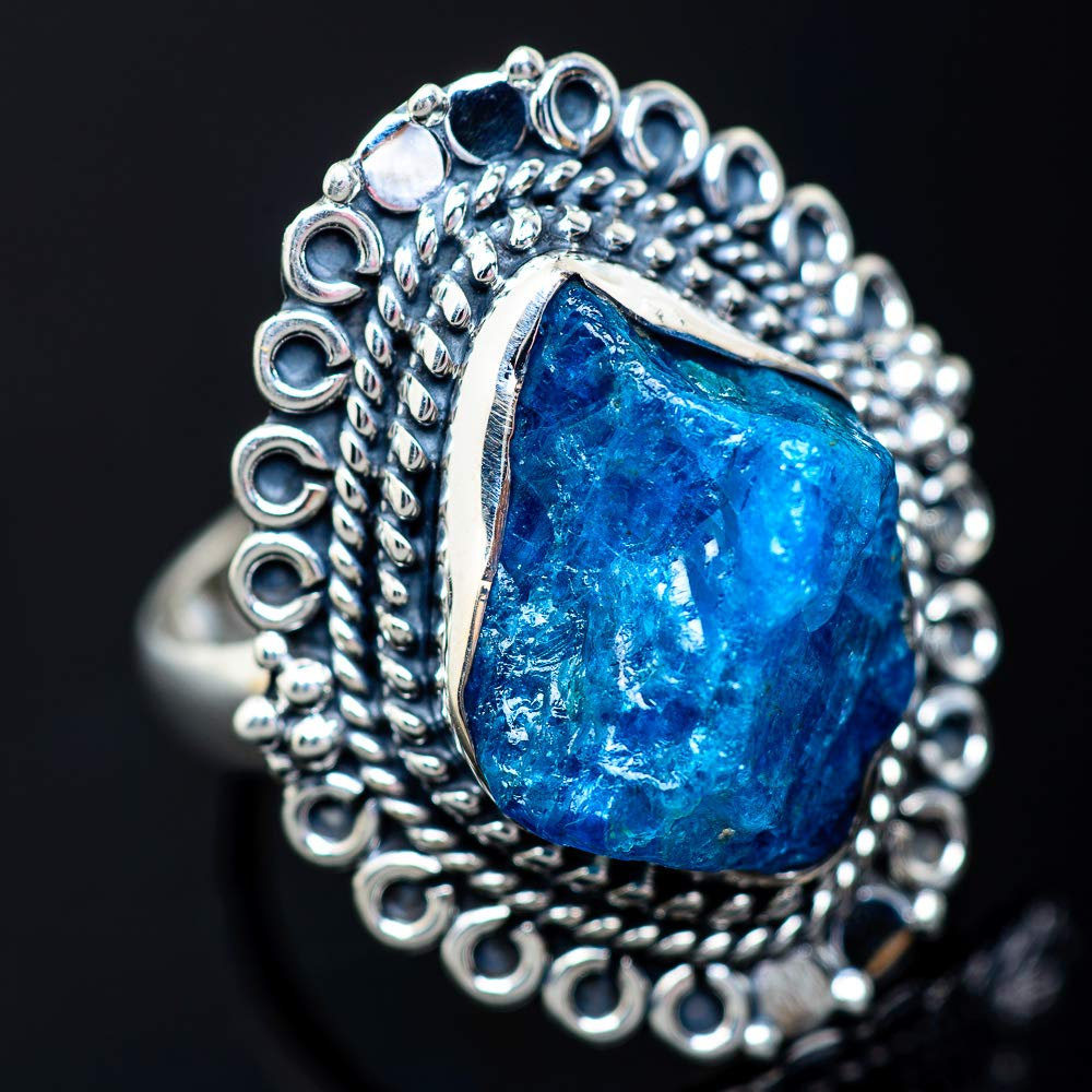 Ana Silver Co Rough Apatite Ring Size 8 - Handmade Jewelry 925 Sterling Silver Vintage RING941143 Bohemian
