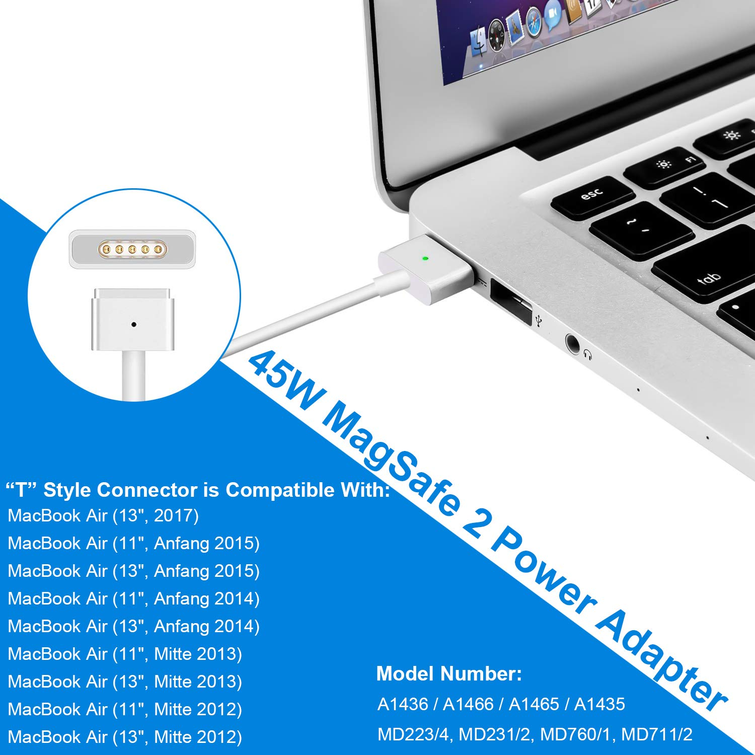 MacBook Air Cargador Fuente, 45 W MagSafe 2 T de punta ponkor de 2 port USB AC Fuente de alimentación para Apple Mac 11