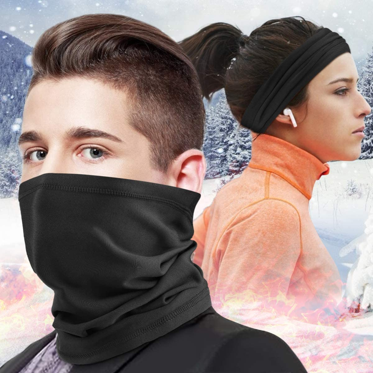 HASAGEI Cache Cou Tubulaire col Nez Foulards dhiver en Polaire Thermique /élastique Protecteur de Cou pour Ski Course Moto V/élo