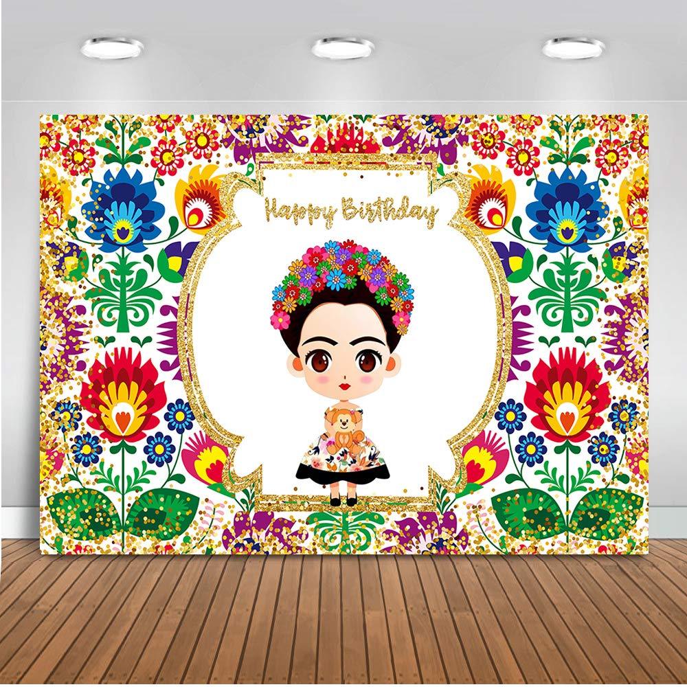 Mehofoto メキシカンフリダ カハロ 背景幕 メキシコ風 テーマ フリダ 誕生日パーティー 背景 7x5フィート ビニール製 メキシコ 女の子 誕生日パーティー バナー 背景幕   B07K1MSD24