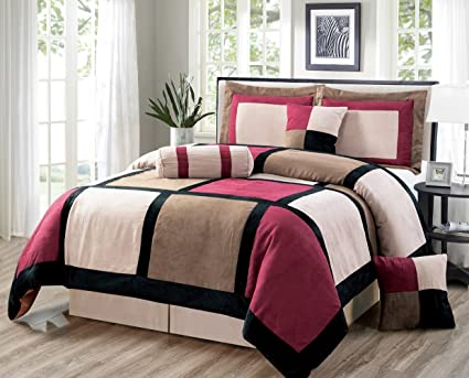 Oversize Burgundy / Brown / Black Comforter Set Micro Suede Patchwork Bed  In A Bag QUEEN