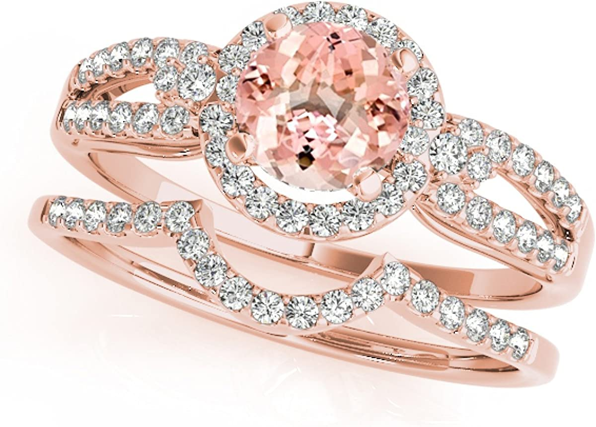 1.25 Ct. Halo Morganite And Diamond Engagement Bridal Set In 14k Rose Gold