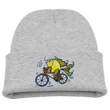 Amazon.com: Beanie Hat Fish Riding Bicycle Cartoon Hat Baby ...