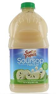 Sun Tropics Soursop Guanabana Nectar tropical fruit 64 FL / 1.89 Liter Made with Fruit Puree