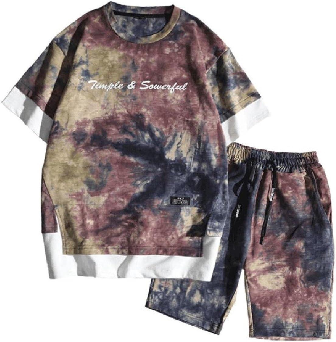 GodeyesMen Leisure 2 Piece Hit Color Thin Patterned T-Shirt Drawstring Short Suit