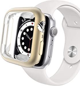 Miimall Compatible Apple Watch 40mm Case with Screen Protector Matte Soft TPU Plated Anti-Scratch Full Protective Case Protector Cover for Apple Watch 40mm Series SE/6/5/4(Gold)
