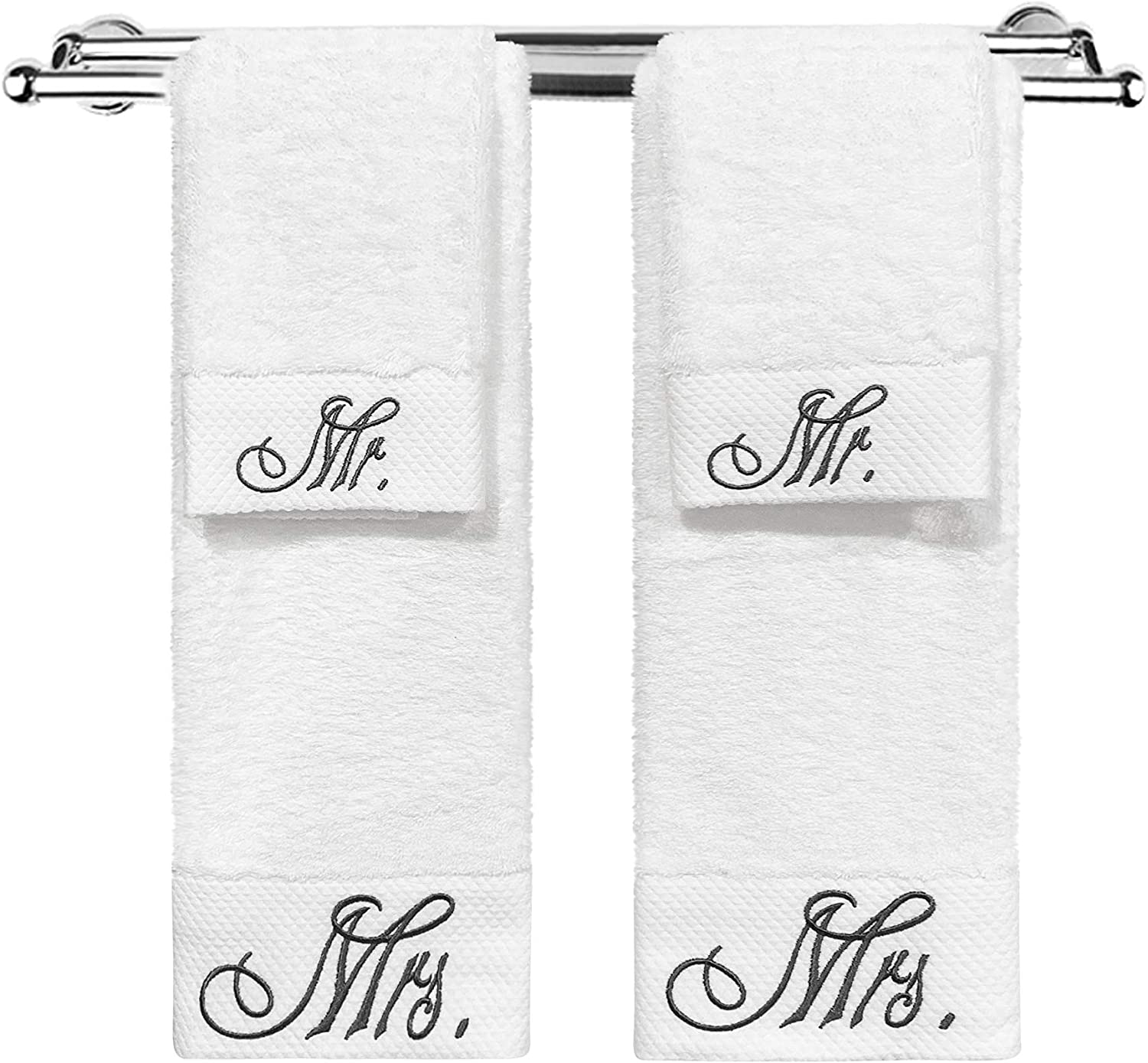 Modern Designs Pro Mr. and Mrs. Gifts - Couple Embroidered Towels - Wedding/Engagement Gifts (4 Pack - Mr. & Mrs.)