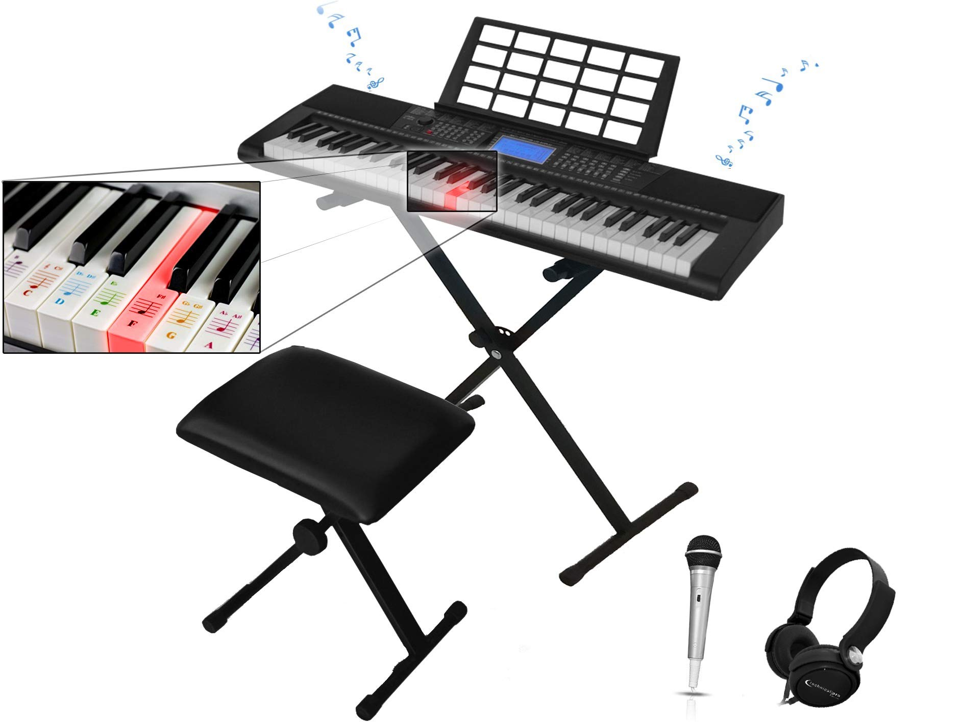 Technical Pro 61-Key Electronic Light Up Keyboard Keyboard Piano Bundle with Stand, Stool, Headphones, Microphone & Power Supply by Technical Pro