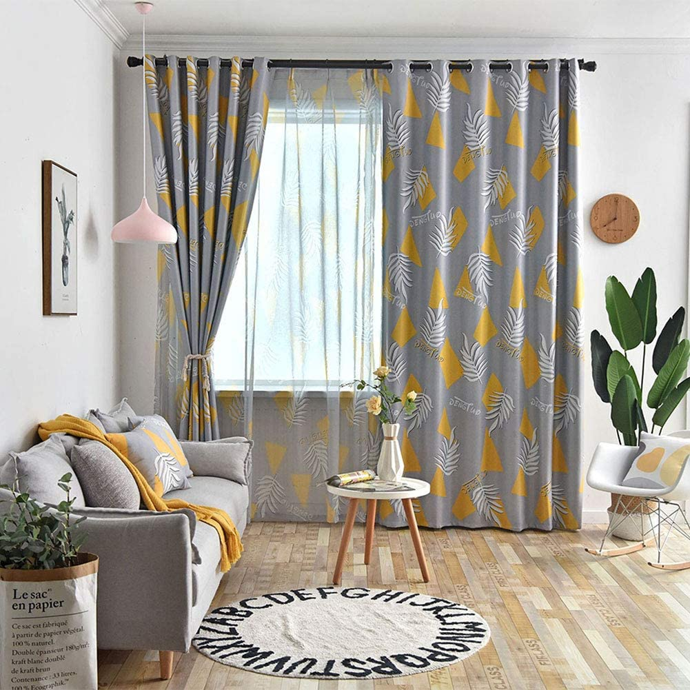 Suitable for Living Room Kitchen Study Bedroom Balcony,Yellow,2xH260XB140 Blackout Polyester cm Simple Stylish Nordic Style YTT Embroidered Curtains