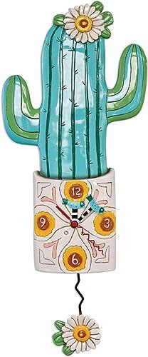 Allen Designs P1856 Whimsical Cactus Pendulum Wall Clock Desert Bloom