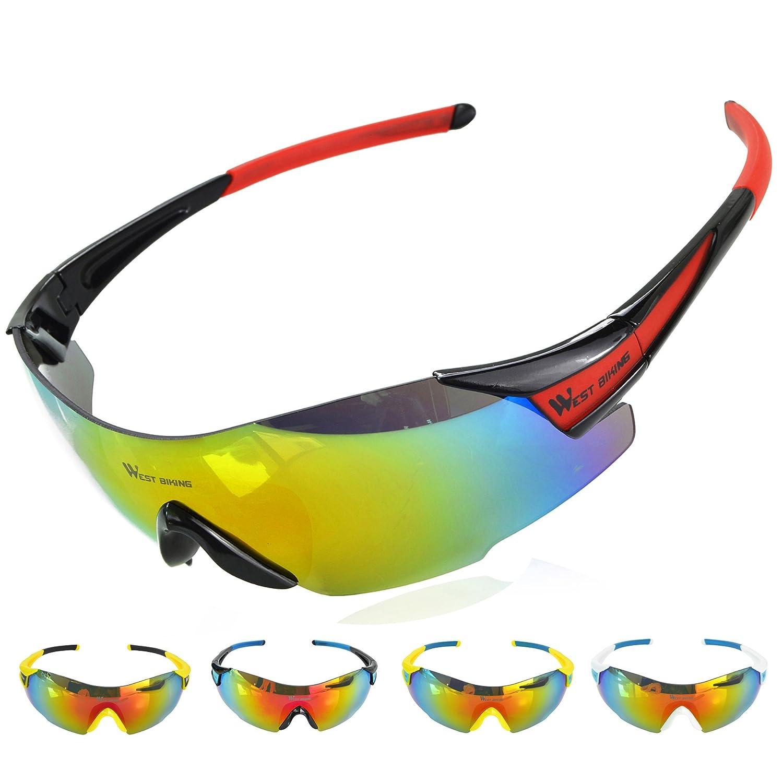 West Biking Lunettes de soleil de sécurité pour le vélo, la pêche, la course à pied, les sports de plein air, Homme femme, BlackBlue