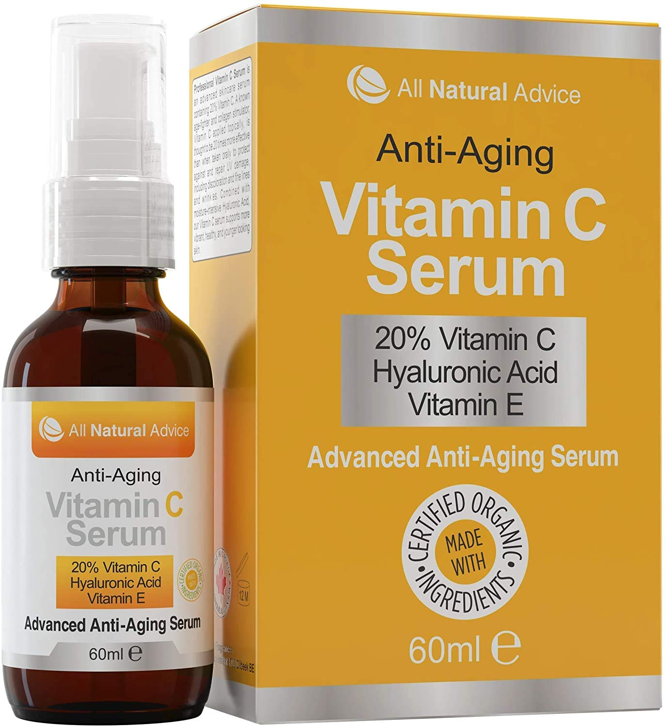 20% Vitamin C Serum - 60 ml / 2 oz Made in Canada - Certified Organic Ingredients + 11% Hyaluronic Acid + Vitamin E Moisturizer + Anti-Aging formulation, Excellent for Your Skin + Includes Pump & Dropper…