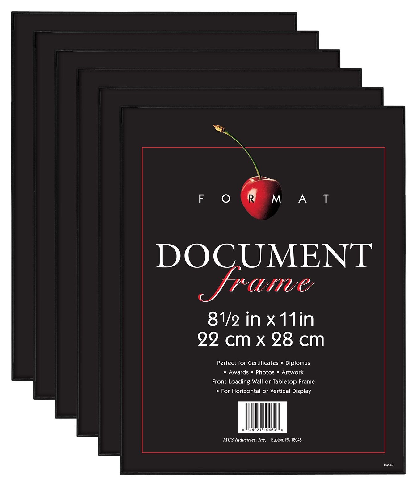 MCS 8.5x11 Inch Format Frame 6-Pack, Black (65609) by MCS